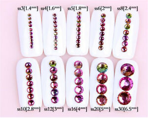 Swarovski Crystals RAINBOW / FIRE stone non hotfix flat back for nail art design