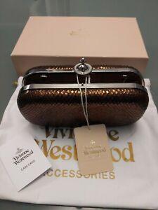 Vivienne Westwood Verona Clutch Bag / Purse Metallic Brown With Chain Bag & Box