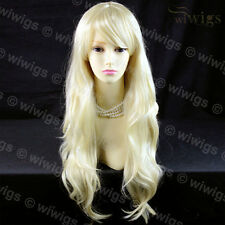 Wiwigs Stunning Long Wavy Pale Blonde Skin Top Bangs Ladies Wig