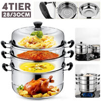 4Tier Steamer Cooker Stainless Steel Steam Pot Kitchen Food Cooking + Glass lid