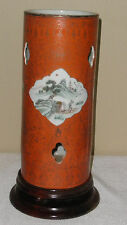 CHINESE CORAL GROUND GILT PORCELAIN HAT STAND VASE, REPUBIC PERIOD