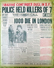 <1929 newspaper AL CAPONE CHICAGO OUTFIT commits ST VALENTINES DAY MASSACRE