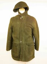 VTG LAPS Green Suede Leather Shearling Lined Hooded Jacket Coat WARM - MEN'S XL