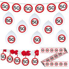 Deko Set 50. Geburtstag Party 50 Dekoration Verkehrsschild Girlanden Luftballons