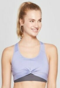 Champion Purple and Gray Twist Front Racerback Removeable Cup Large Bra NWT