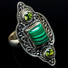 Malachite, Peridot 925 Sterling Silver Ring Size 8.5 Ana Co Jewelry R22927F