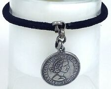Silver Black Elizabeth Coin Ponytail Holder Bracelet Hair Access Handmade