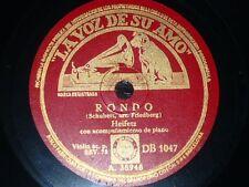 VIOLIN 78 rpm RECORD Spain VsA JASCHA HEIFETZ Ave Maria FRANZ SCHUBERT Rondo