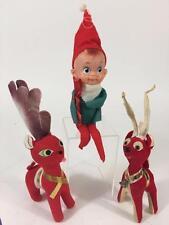 Christmas July Vtg 3 pc Lot 1950's Elf Pixie Shelf Sitter Reindeer Japan Korea