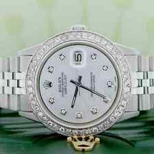 Rolex Datejust 36mm Steel Jubilee Mens Watch w/MOP Diamond Dial & 1.5CT Bezel