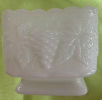 Vintage Anchor Hocking Square Milk Glass Candy Dish Bowl Grapes and Leaves