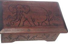 Wooden Handmade Carved Jewelry Box - African Safari Animals
