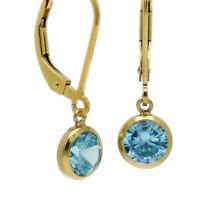 FREUNDLICHES FUNKELN ● aquamarin blaue 6mm Zirkonia Ohrringe ygf 14k Gold 585