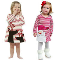 Xmas Toddler Baby Kids Girls Striped Princess Dress Christmas Outfits Clothes A