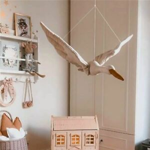 Wall Hanging Swan Plush Doll Stuffed Fabric Bed Nursery Room Baby Soothing Craft