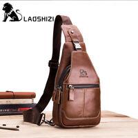 Men's Genuine Leather Sling Chest Bag Crossbody Bag Multiple Pocket Shoulder Bag