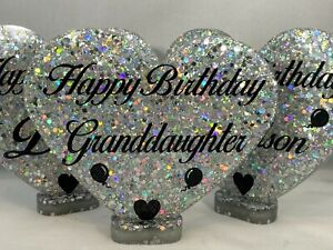 Personalised Happy Birthday Heart. Handmade in Resin with Super Sparkly Glitter