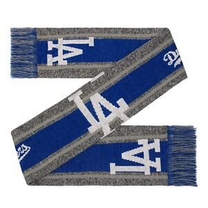 Los Angeles Dodgers Gray Scarf Knit Winter Neck Double Sided Big Team Logo Grey