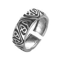 Vintage Wide Band Toe Rings for Women 925 Silver Adjustable Open Rings Jewelry