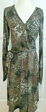 CABI Faux Wrap Brown Dress Medium Black Gray Abstract Print Belted Career sexy