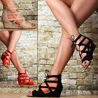 sexy Chaussures Femmes Semelle Compensée gladiateur à Sandales fête rouge beige