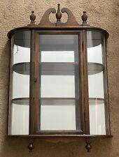 Ferguson Traditional Mahogany Wall Mount Curio Cabinet, Mirror Back/Curved Glass