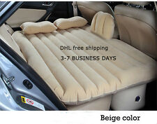 Flocking Inflatable Car Bed For Back Seat Cover Air Mattress Universal Car Beige