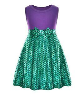 Kids Girls Children Green Mermaid Scale Shine Costume Party Vest Dress 3-7 Years