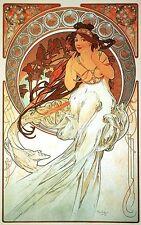 MUSIC, 1898 Alphonse Mucha Art Nouveau Rolled CANVAS ART PRINT 24x36 in.