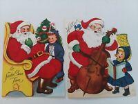 2 Vtg 1950s FLOCKED SANTA w GIRL & BOY Whit CHRISTMAS GREETING CARDS