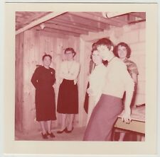 Square Vintage Pink Kodacolor 50s Photo Young Women Hanging Out Together