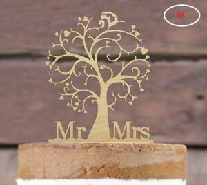 Wooden Mr & Mrs Love Tree Cake Topper - Rustic Wood Wedding Reception Decoration