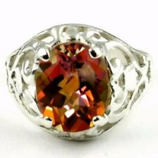 925 Sterling Silver Ladies Filigree Ring, Twilight Fire Topaz, SR004