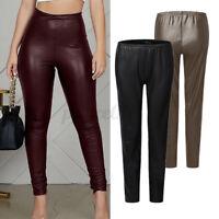 ZANZEA Femme Casual Serré Ceinture élastique Coupe Slim Pantalon en cuir Long