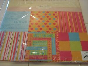 MARCELLA BY KAY 12 x12 PAPER PACK 54 SHEETS PLUS BONUS STICKERS ABC+ BIRTHDAY