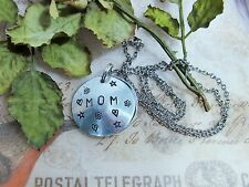 Personalized Hand Stamped Mom Locket Necklace, Customized Mothers Heart Locket