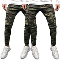 Mens Military Combat Cargo Skinny Jeans Army Slim Fit Camo Denim Pants Trousers