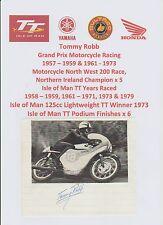 Tommy Robb MOTO PILOTA 1957-1973 iomtt RARA FOTO originale firmato a mano