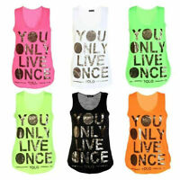 LADIES GIRL GOLD FOIL YOLO YOU ONLY LIVE ONCE PRINT NEON VEST TOP SIZE 8-14