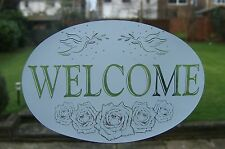 """Frosted glass look HORIZONTAL WELCOME SIGN 8""""x12"""" / 20x28cm"""