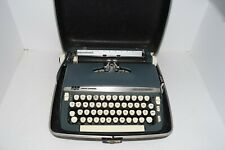 Vintage 60s Smith Corona Super Sterling Blue Typewriter in Hard Case Works Clean