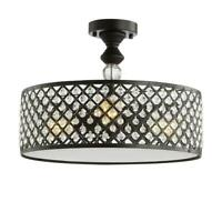 JONATHAN Y Elise 17 in. 3-Light Crystal/Metal Drum Semi-Flush Mount, Black