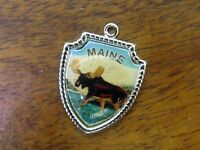 Vintage sterling silver MAINE STATE MOOSE STREAM TRAVEL SHIELD charm #E13