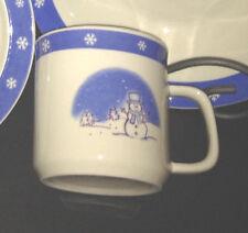 Blue Banded Snowman Stoneware Mug(s) Set Of 4 Made In China Stoneware NEW