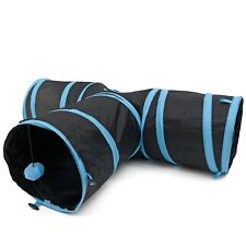 Pet Rabbit Cat Exercise Tunnel Kitten Play Toy Cave Funny 3 Way Y Shape Foldable