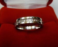 Thick Solid 4 Grams 14k White Gold Natural Baguette Diamond Wedding Band Sz 6.75