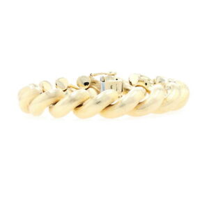 """Yellow Gold Brushed San Marco Chain Bracelet 6 3/4"""" - 18k Box Clasp"""
