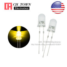 100pcs 5mm LED Diodes Water Clear Yellow Light Transparent Round Top USA