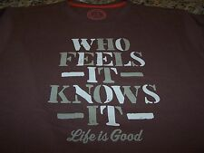 Life is Good WHO FEELS IT Creamy S/S T-Shirt CHOCOLATE BROWN Men's XL ~ NWOT