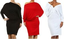 Women's On Off Shoulder Multi Way Reversible Plunging Convertible Midi Dress